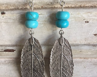 Silver leaves with turquoise drops