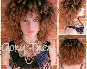 ON SALE // Kinky Curly Half Wig, Ombre Blonde Wig, Big Curly Afro Wig With Bangs, African American Wig // SINCERE