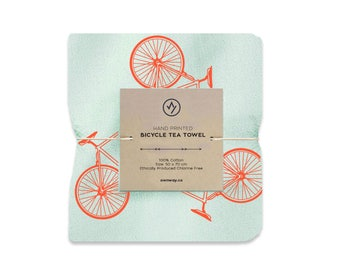 Tea Towel Hand Screen Printed Road Bike