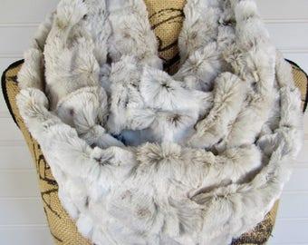 Faux Fur Scarf Infinity Scarf Faux Fur Infinity Scarf Fashion Scarf Animal Print Snow Leopard Scarf