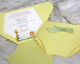 Diaper Baby Shower Invitation or Baby Announcement - Jungle theme