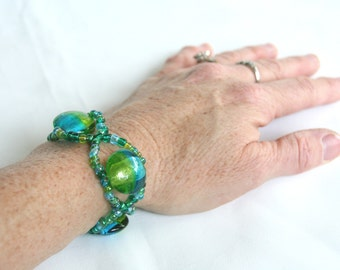Glass Beaded Stretchy Bracelet Turquoise Green