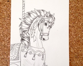 Original Ink Drawing - Carousel Horse - 5x7 inches hand drawn ink illustration OOAK