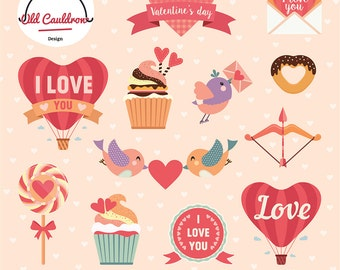 Valentine clipart commercial use, valentines day clipart, heart clipart, love clip art, valentine vector graphics  CL009