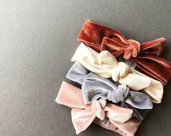 Headband Set- Soft Velvet Knot Headwraps in Blush, Cream + Rust