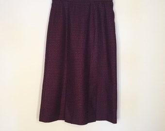 Vintage Purple Wool Midi Pencil Skirt Kick Pleats Front and Back 1960s 1970s
