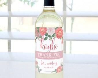 Thank You for Hosting My Bridal Shower Custom Wine Bottle Label (Pink & Blush) - Hostess Gift