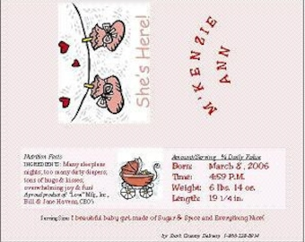 "Personalized Candy Bar Wrapper - ""Baby Booties"" - Baby Announcement"