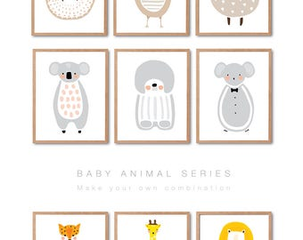 ANY 6 PRINTS Bear Print, Penguin Print, Fox Print, Wolf Print, Raccoon, Rabbit, Racoon, Animal Wall Art, Woodland animal, Baby nursery Decor