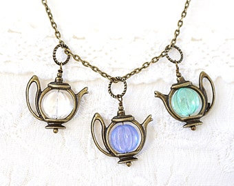 Mothers Day Gift Artisan Glass Teapot Necklace Bronze Chain Necklace Custom U-pick Color Clear Light Purple Mint Green Alice in Wonderland