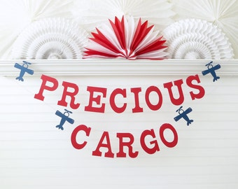 Precious Cargo Banner - 5 inch Letters with Airplanes - Airplane Baby Shower Decor Airplane Banner Airplane Decoration Baby Shower Banner