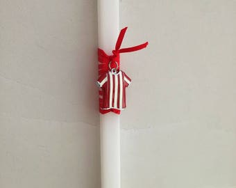 Football Easter candle, Olympiakos candle, boys Greek Easter candle with Olympiacos colors jersey, λαμπάδα Ολυμπιακός με φανέλα