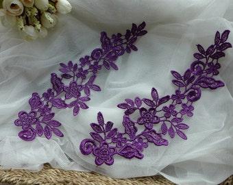 Purple Bridal Floral Applique, Venice Lace Applique, Purple Appliques One Pair