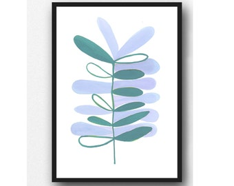 Scandinavian Art, Watercolor painting teal blue plant, watercolor giclee print, Modern minimalist wall art Scandinavian print, kitchen decor