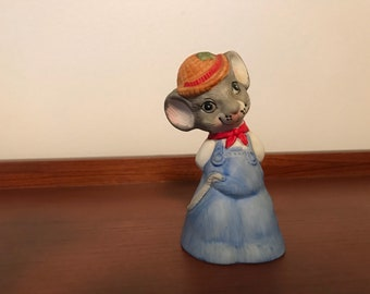 Vintage Jasco Taiwan ceramic mouse bell country primitive