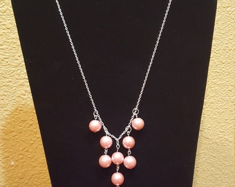 Pink Pearl Necklace and Earing Set