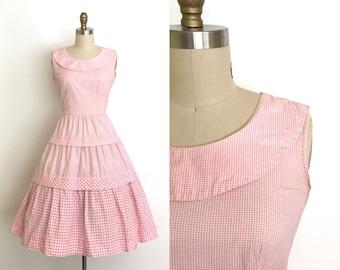 vintage 1950s dress   50s gingham summer dress