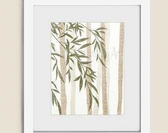 Bamboo Wall Art for Home or Office, 11 x 14 Earthy Brown and Tan Living Room Decor, Green Bedroom Art (217)