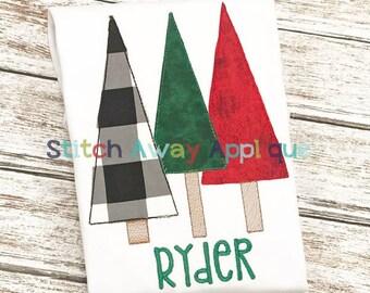 Raggy Tree Trio Christmas Winter Machine Applique Design