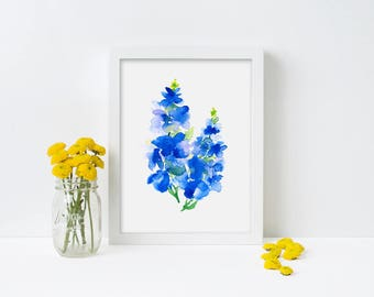 "Blue Flower watercolor painting, Abstract Floral Watercolor Gift For Her Original Watercolor Art Print ""Larkspur 1"""