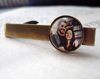Custom Gold or Silver Photo Tie Clip - Personalized With YOUR Photograph or Image - Customized Gift for Dad, Husband, Groomsmen