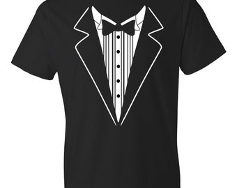 Tuxedo Shirt, Tux Shirt, Groomsmen Gifts, Groomsmen Shirt Best Man Shirt, Tux Best Man Gift, Retro Tuxedo Costume Dress Fake Tuxedo #OS92