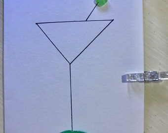Sea Glass Greeting Card- Martini Glass