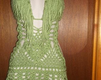 Hand Crochet Fringe Monokini MINT GREEM, Monokini Dress, One Piece, Monokini Skirt, Monokini mini skirt, beachwear, bikini cover up,