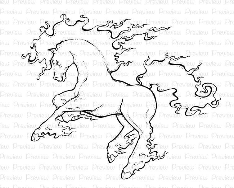 Caballo llameante fuego llama Pony sello Digital instantánea ...