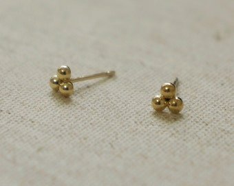 10K Gold tiny 3 beads triangle earrings, 10k real Gold - TG053