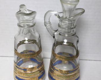 Art Deco Glass Oil Vinegar Serving Bottles Gold & Blue