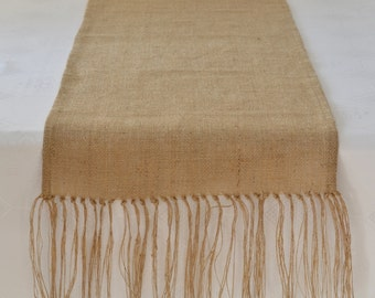 Burlap Table Runner with Hand Knotted Fringe