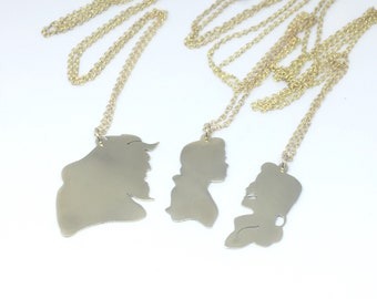 Disney Friendship Gaston and Belle beauty and the beast pendant  in Brass handmade by hand sawing, Disney couple,Disney Villains