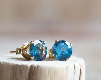 London Blue Topaz Studs - November Birthstone