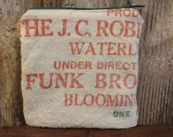 Reclaimed Funk Bros. Seed sack zipper pouch