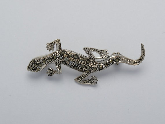 Marcasite brooch lizard and sterling silver