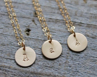 Initial Necklace, Gold Disc Letter Necklace, Kids Initial Necklace, Initial Disk Necklace, Gold Filled Dainty Satin Disc, Bridesmaid Gifts