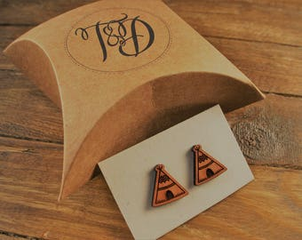 "Laser Cut Wooden ""Wigwam"" Earrings"