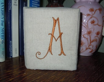"""Tissue Box Cover - Made To Order - Monogrammed Essex Natural Linen -  Arabesque """"A"""""""