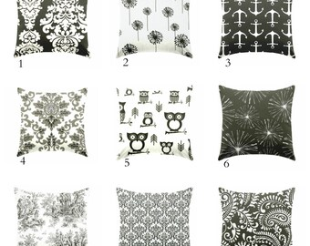 Black and white pillow covers, cushions, Pillows  coastal pillow , nautical bedroom ,  beach house pillows , couch pillows