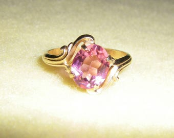 Vintage Vargas Ring 14KT GF Gold Filled Ring, pink stone in yellow gold filigree, signed vintage ring, new old stock
