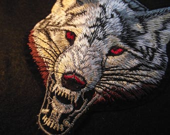 FREE SHIPPING,Red Eye Wolverine Patch,Growling Wolf,Sewing Notion,Patches Appliques,Wolf,Wildlife,Iron On, Sew On Patch,Embroidered Applique