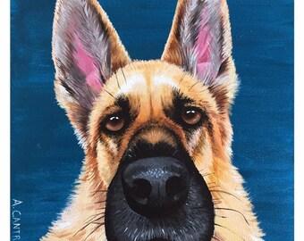 "Pup Study 9 - Original acrylic on board 8x8"""