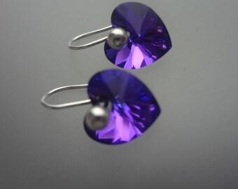 Swarovski purple/blue heart
