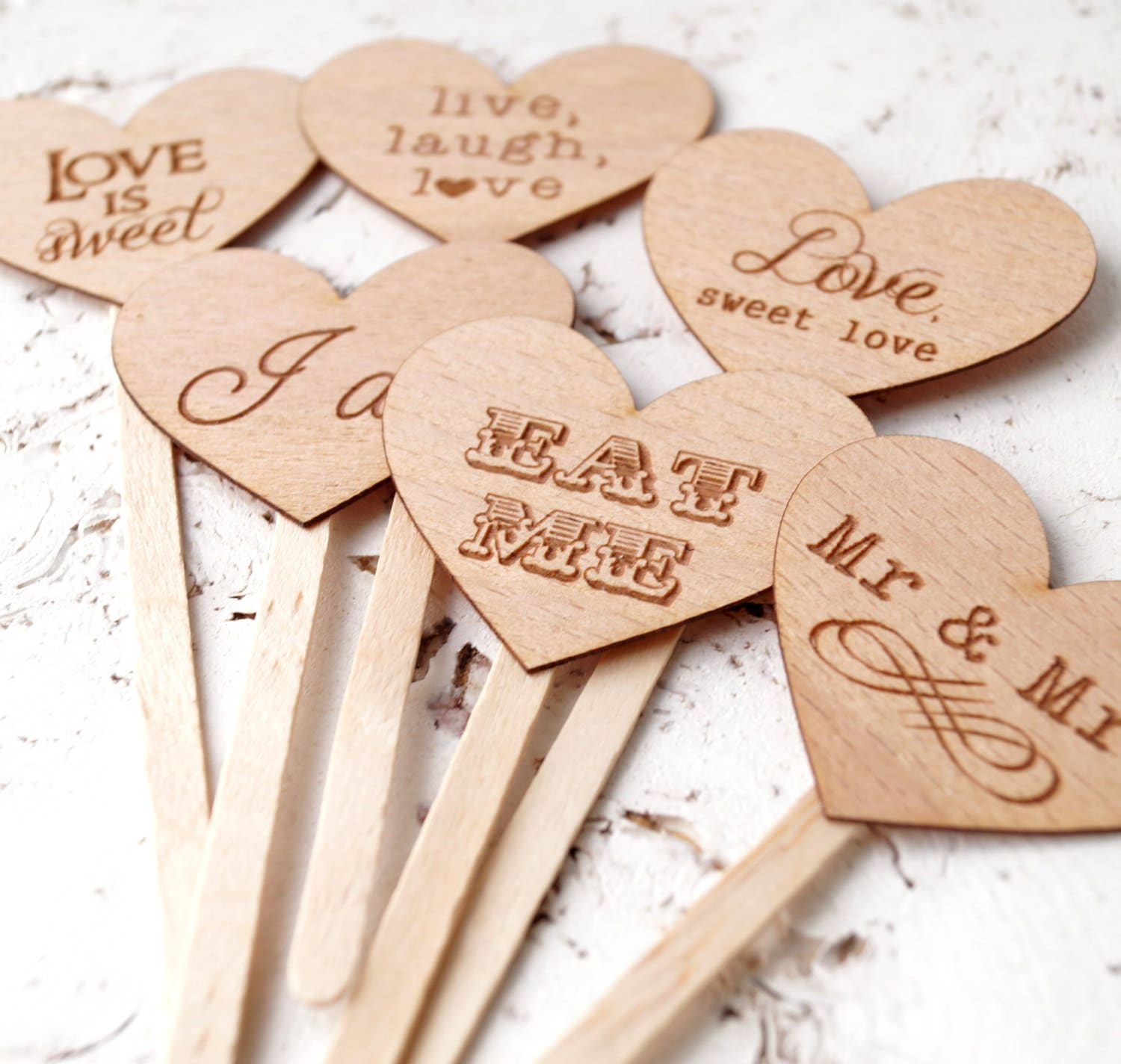 Wedding cupcake toppers rustic cupcake toppers personalized zoom junglespirit Image collections