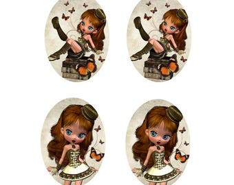 4 cabochons mademoiselle and butterflies, 13x18mm