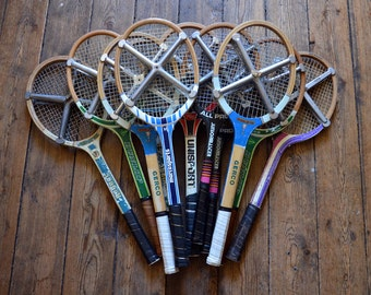 Vintage wooden tennis racquets / Gerco Wimbledon, Master, Challenger, Pierre Darmon, Dunlop / metal brace Press Zephyr
