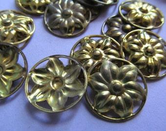 Vintage Brass Flower Ring Finding (6)