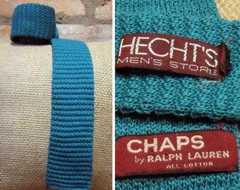 Vintage Necktie • Vintage Chaps Ralph Lauren Tie • Knit Cotton Tie • Blue Green Woven Necktie • Hecht's Knitted Tie • Square End Tie Skinny