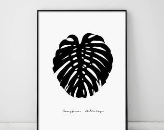 Monstera, Monstera Deliciosa, Monstera Print, Tropical Print, Black Monstera, Monstera Deliciosa Poster, Affiche Scandinave, Black and White